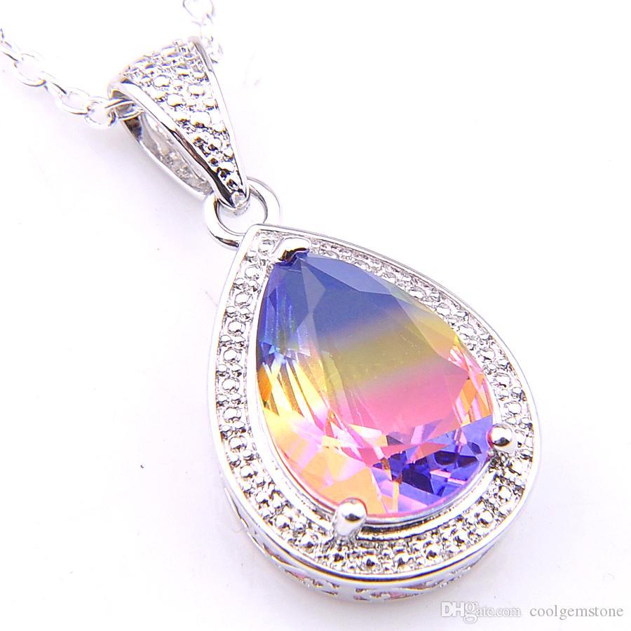Luckyshine 12piece/Lot 925 silver Jewelry Teardrop Rainbow BI-COLORED Tourmaline Crystal Vintage Necklace Pendants NEW