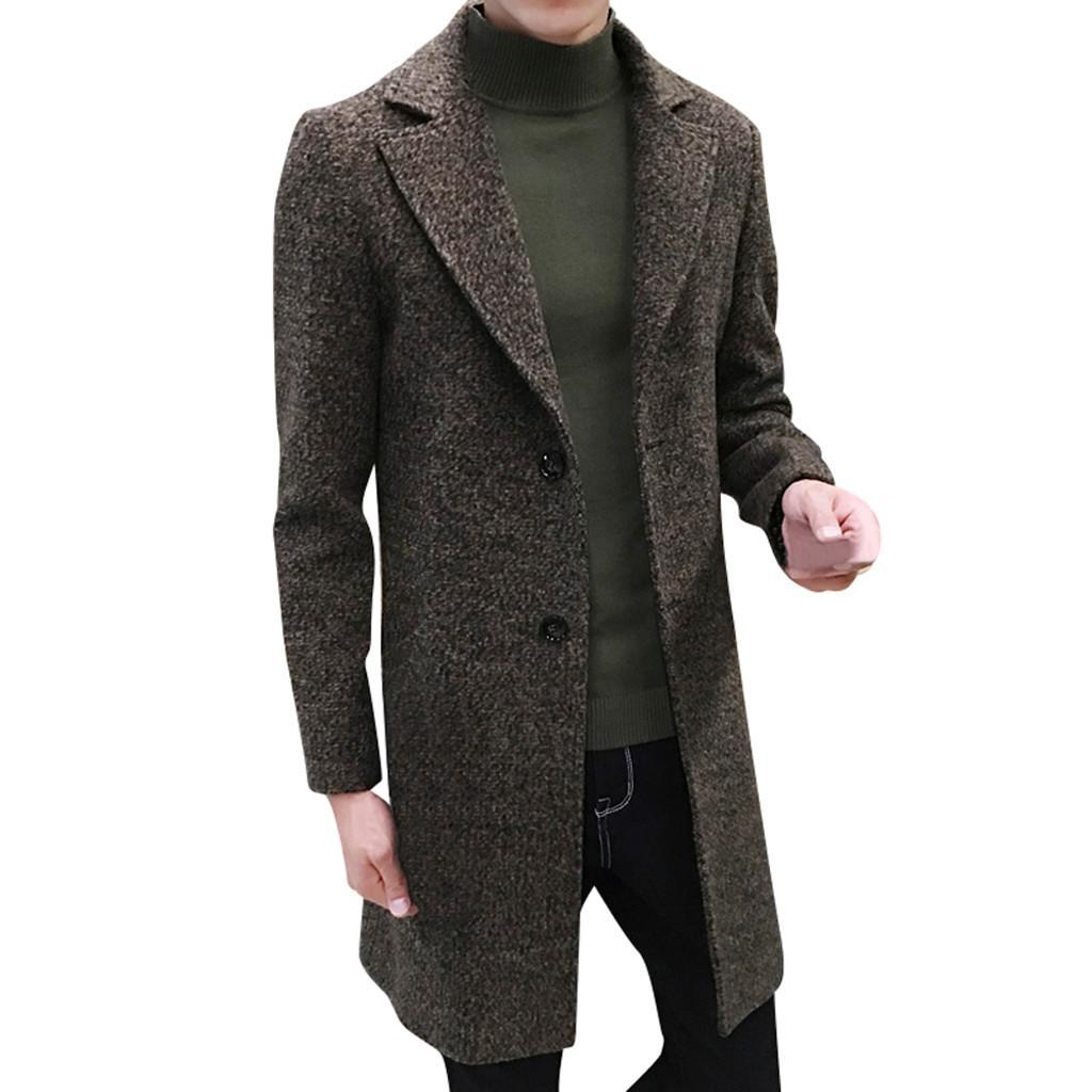 Chaude Haute Qualité Design De Mode Hommes Formel Seul Breasted Figuring Pardessus Longue Veste De Laine Outwear Plus Manteau D'hiver Hommes Nouveau