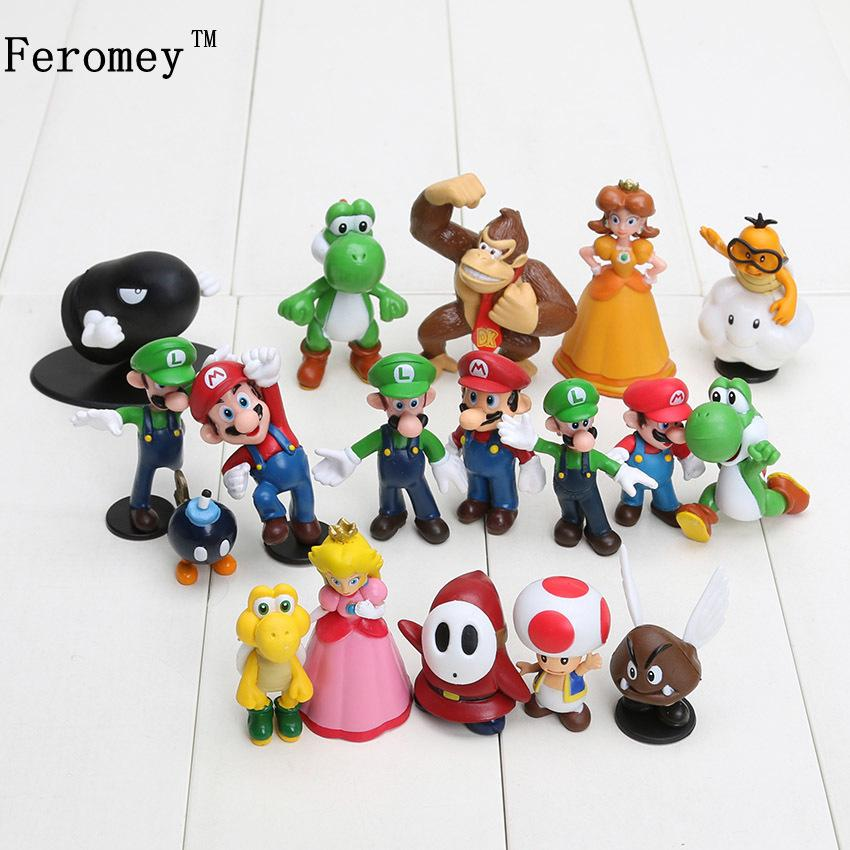 18pcs/lot Super Mario Bros Pvc Action Figures Toys Yoshi Peach Princess Luigi Shy Guy Odyssey Donkey Kong Model Figure Dolls C19041501