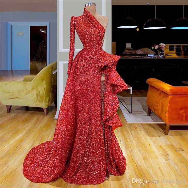 2020 musujące czerwony jedno ramię cekiny wysokie podział balu sukienki z długim rękawem Ruffles Ruched Linia Sweep Pociąg Formalne Party Suknie wieczorowe