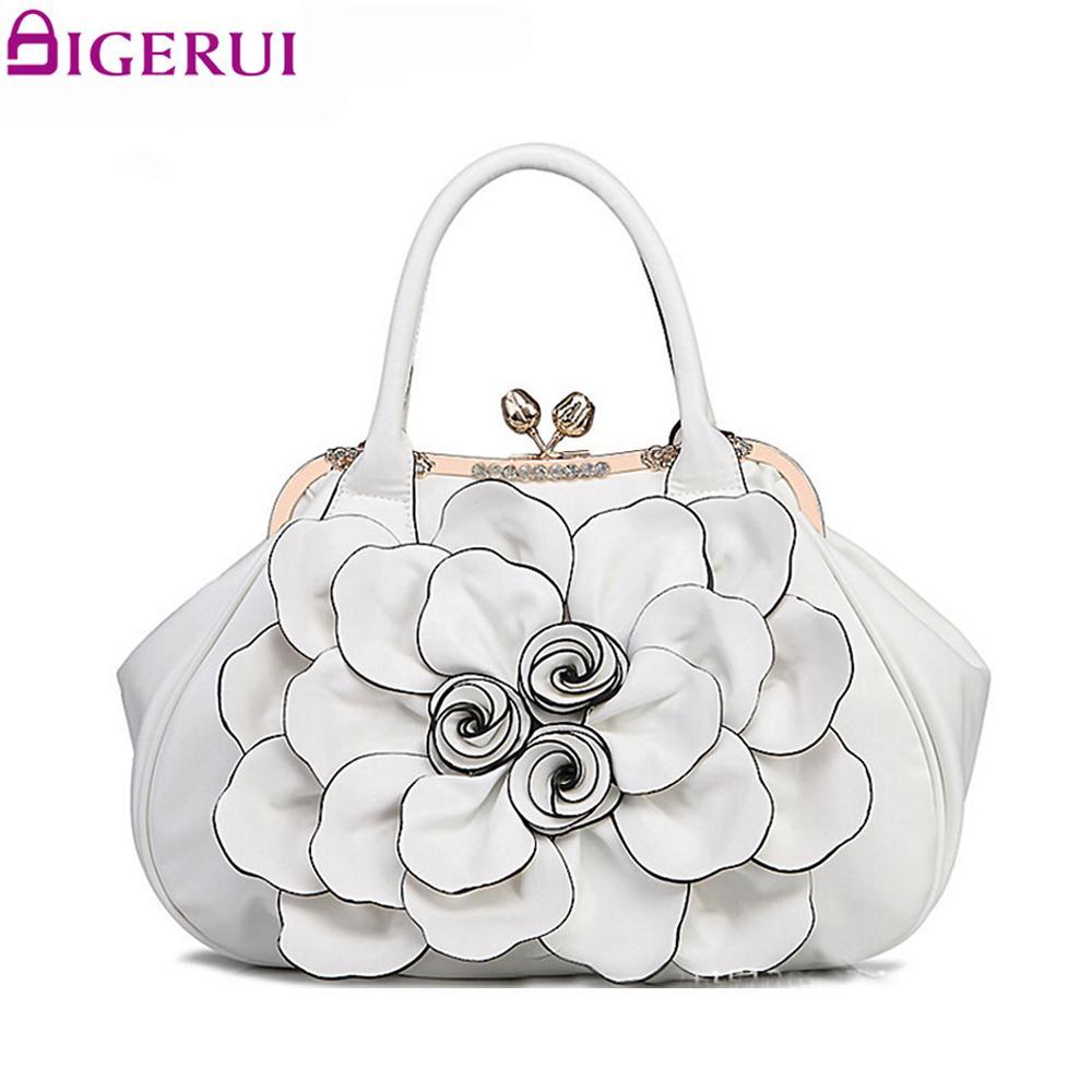 DIGERUI Flying birds designer women handbag 3D flower high quality leather tote bag female large shoulder bag messenger bags