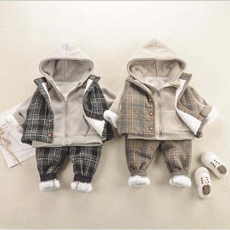 2019 الشتاء مل 3pcs ملابس الأطفال مجموعة زائد المخملية هوديي البلوز البلوز + منقوشة الصدرية الصدرية + سروال الطفل بنين سميكة البدلة الدافئة