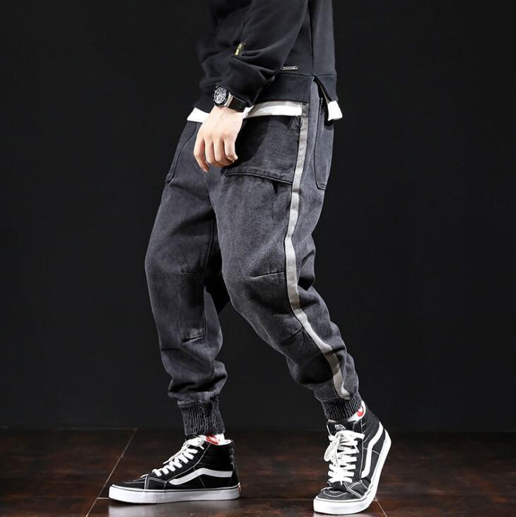 Brand new spring japão fresco homens estilo street fashion preto homem calças soltas Harem Pants Calças Lápis