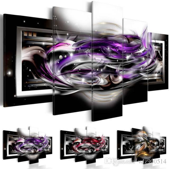 Lienzo abstracto Decoración de la pared Póster Negro y rojo Lámina de arte 5 paneles HD impresos para la decoración del hogar Imágenes de la pared de la habitación, (Sin marco)