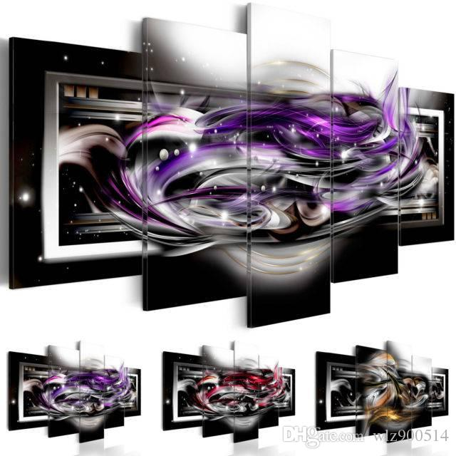 Abstract Canvas Wall Decoration Poster Black and Red Art Print 5 Panels HD Printed for Home Decor Room Wall Pictures ,(No Frame)