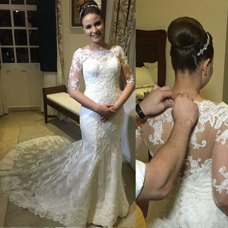 2020 Mermaid Wedding Dresses Vintage mezza merletto del manicotto di Applique Torna Perle Pulsante sweep treno Arabia arabo Abiti da sposa