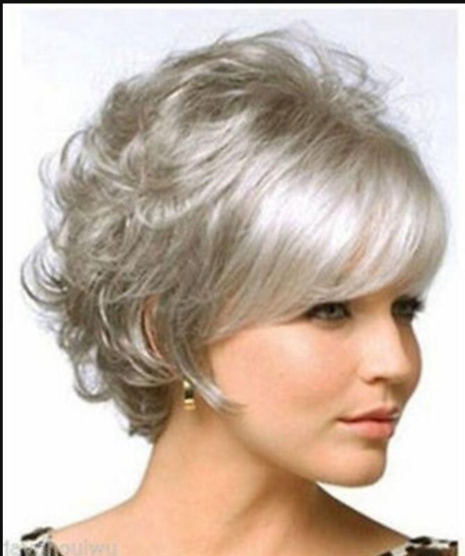 Perücke kurze graue lockige Perücke Frauen Lady Haar volle Perücken Cosplay Party Perücken