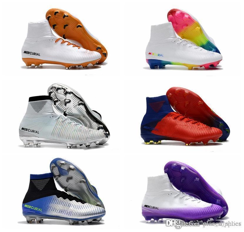 2019 uomini morsetti di calcio Mercurial Superfly FG V1 calcetto scarpe da calcio scarpe cr7 Neymar stivali crescente pacco veloce a basso costo