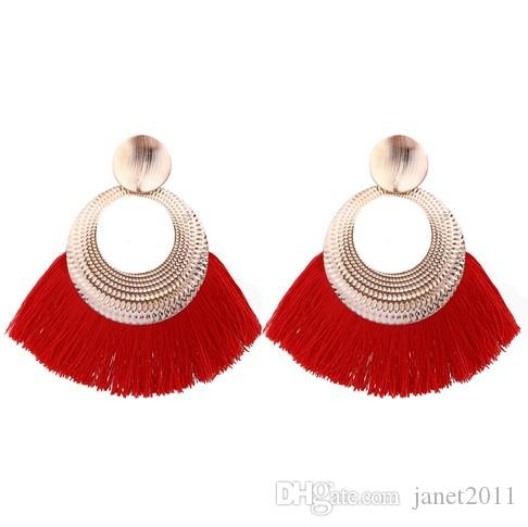 Fashionable Circle Cotton Thread Earrings Gold Plated 10 Color Dangle Earrings For Girls/Ladies