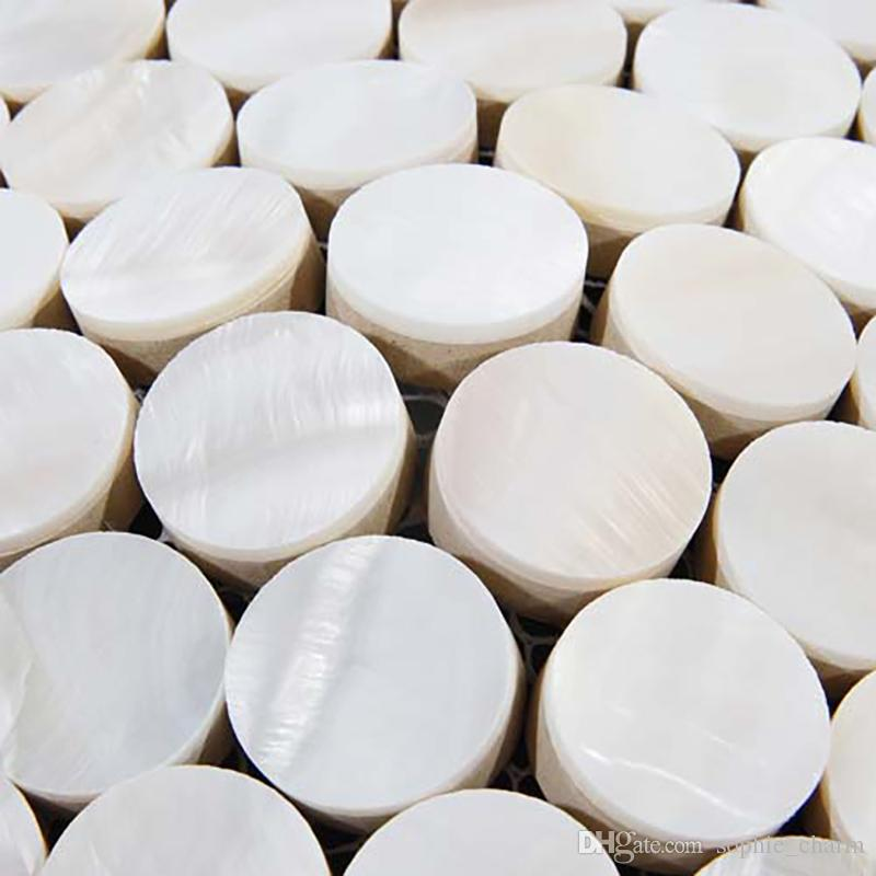 Penny round white Mother of pearl tiles shell mosaic kitchen backsplash shell mosaic bathroom tiles MOP130 pearl shell tiles