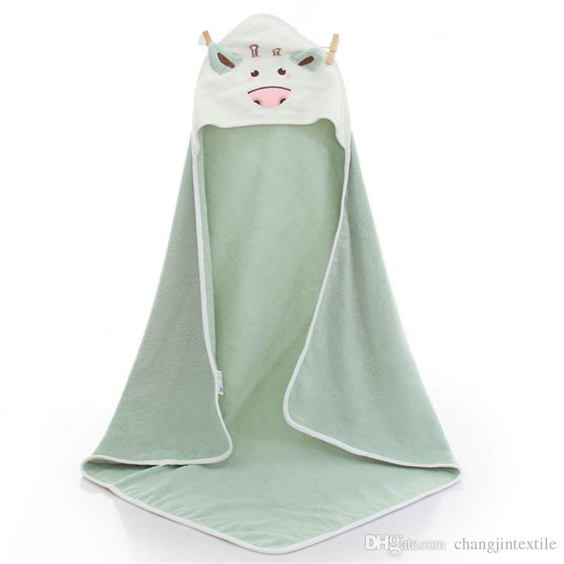 Детский мультфильм ванна капюшон с шапками маленькая корова укладка банные полотенца плащ халаты лето плавание хлопок банные полотенца