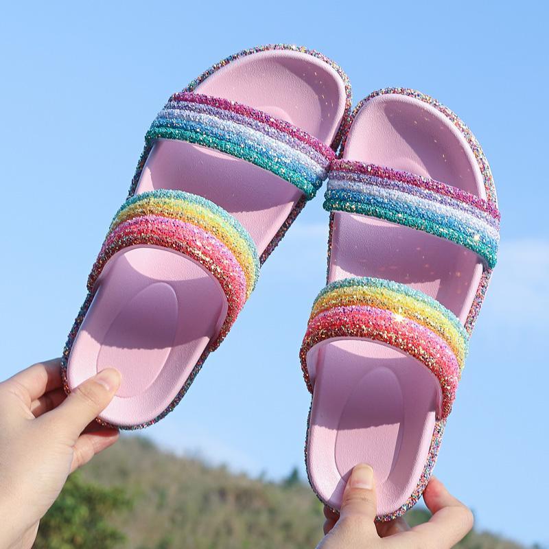 Womens Open Toe Rainbow Slides износостойкие нескользящие подошвы модные сандалии блеск скольжения на милые пляжные квартиры тапочки