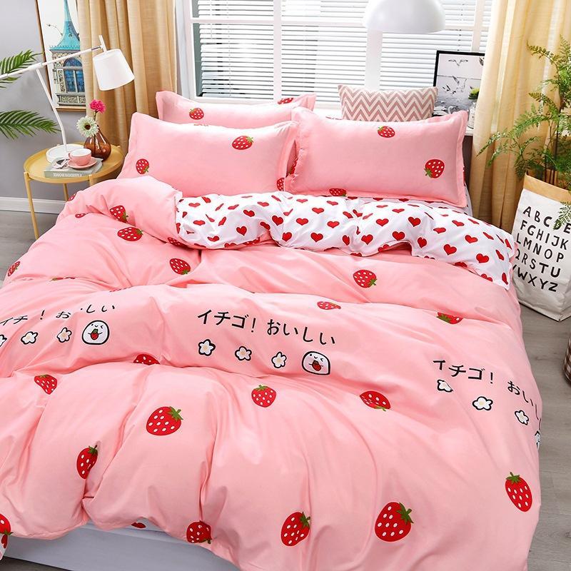 4pcs rosa morango kawaii conjunto de cama Queen Luxury Tamanho lençóis Crianças Quilt macios conjuntos de cachecol de algodão roupa de cama para menina
