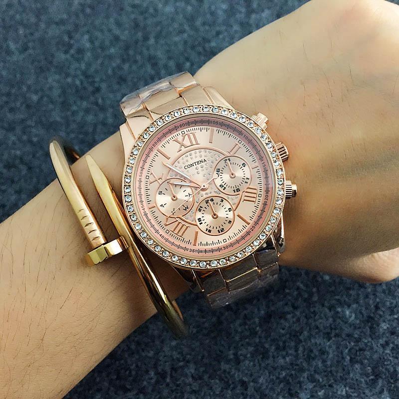 2019 CONTENA кристалл алмаза часы розового золота женщин Часы моды Женские часы Полный стали наручные часы Часы Saat