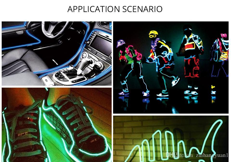 Flexible LED Light Tube 1M 2M 3M 5M LED Strip Waterproof EL Wire Rope Tape Cable Glow Neon Light Lamp For Clothing Car Auto
