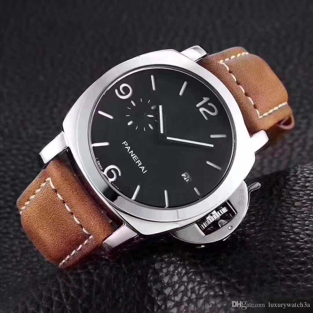 Yüksek Kaliteli Lüks Erkek İzle Çoklu Saat Dilimleri Tasarımcı Saatler Erkekler İş saatı Siyah Dial Kuvars Saat orologio di lusso