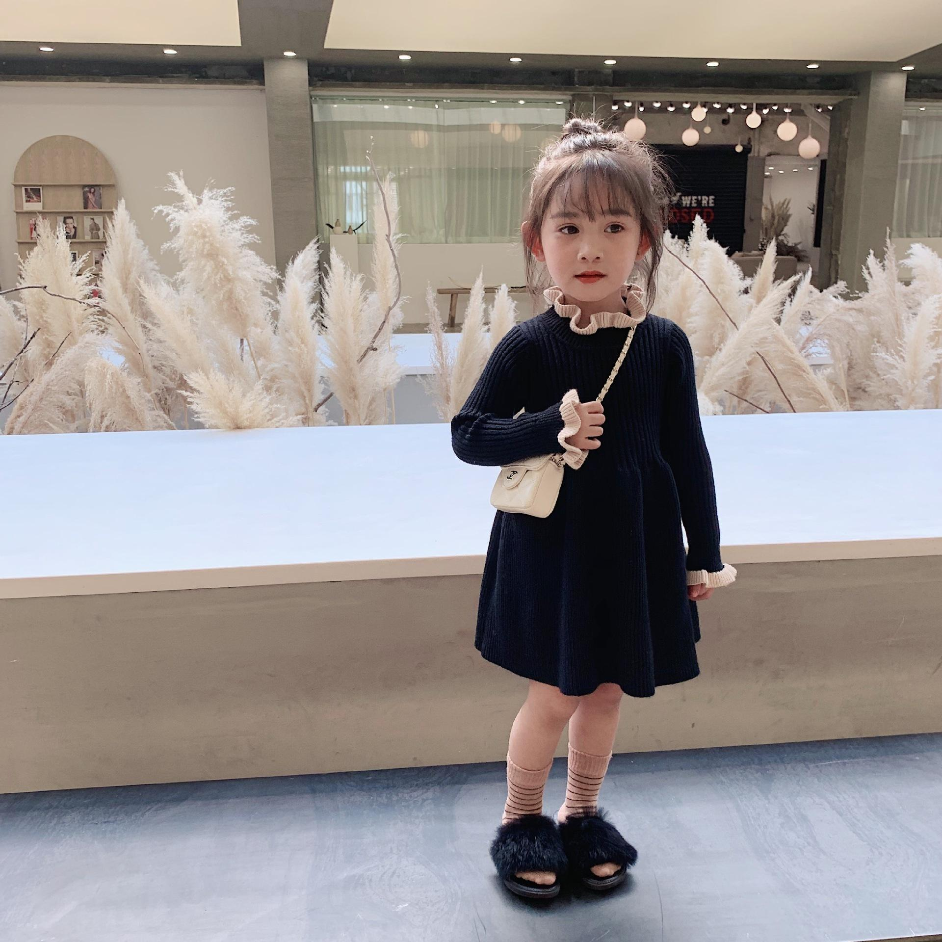 Winter New Arrival korean style cotton matching colors princess all-match knitted sweater dress for cute sweet baby girls