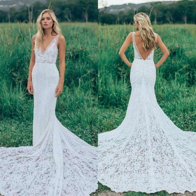 2020 vestidos de boda simple sirena cuello en V profundo sin mangas Apliques vestidos de encaje barrer de tren Vestidos de novia