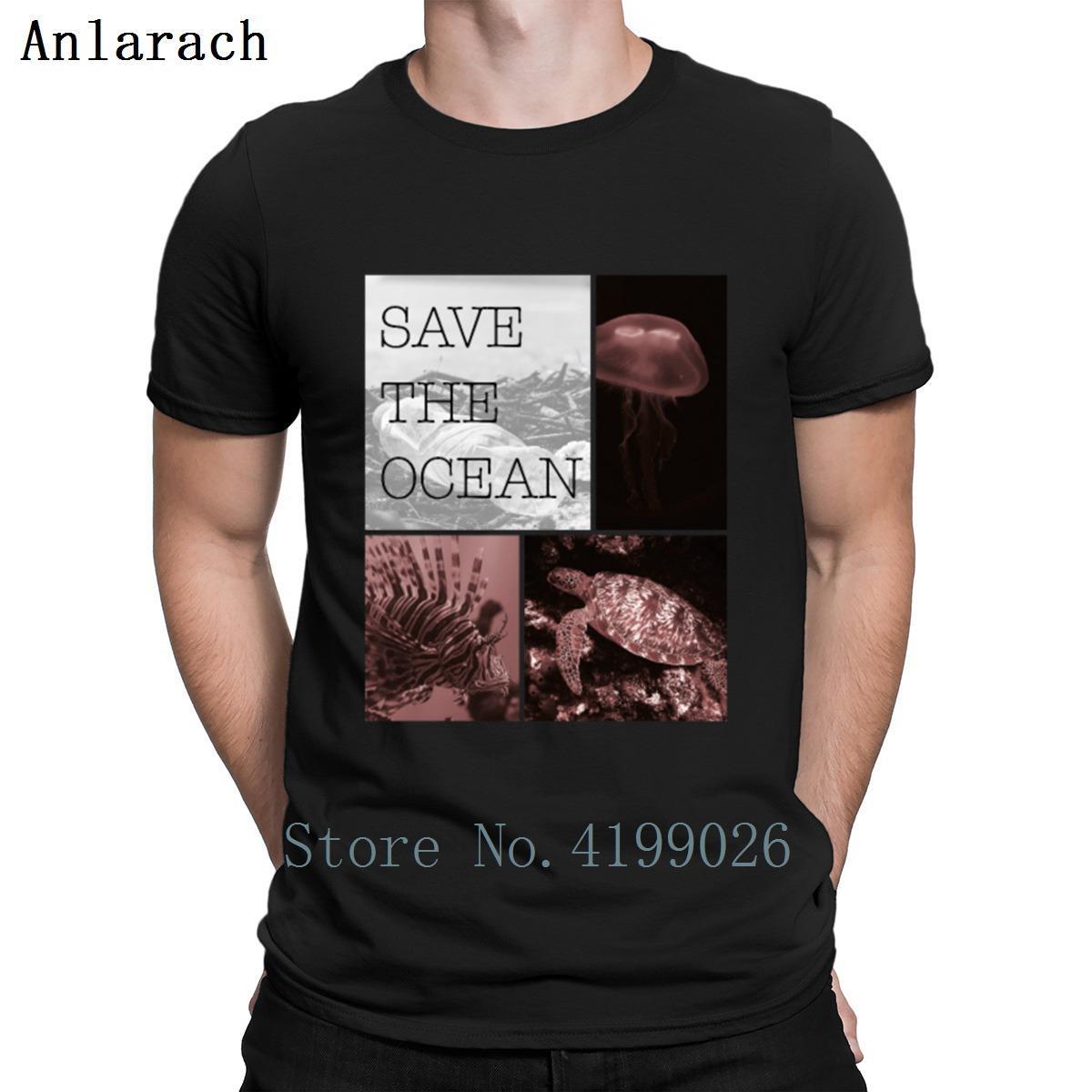 Guardar La tortuga de mar del océano de los pescados medusas camiseta Humor Spring normales Ropa Personalizar cuello redondo anti-arrugas camisa de algodón
