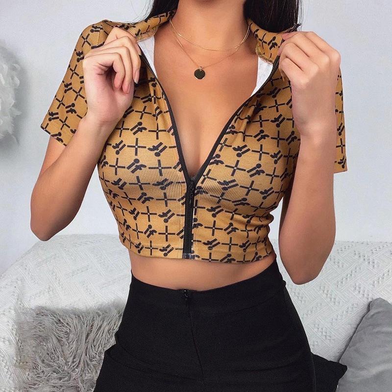 2020 уличная стиль футболки Sexy Slim пупок шорты с рукавами кардиган стоячий воротник топы с застежкой-молнией Женские обтягивающие футболки с буквенным принтом