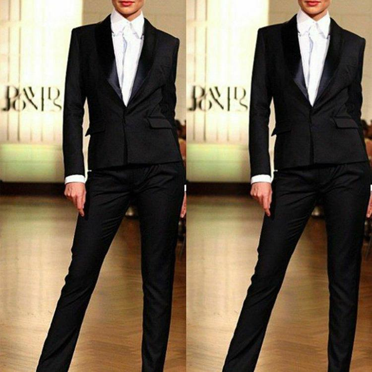 Negro 2 unidades mujeres Formal fiesta trajes de noche ropa de trabajo señoras Oficina esmoquin invitado boda Madre de la novia trajes