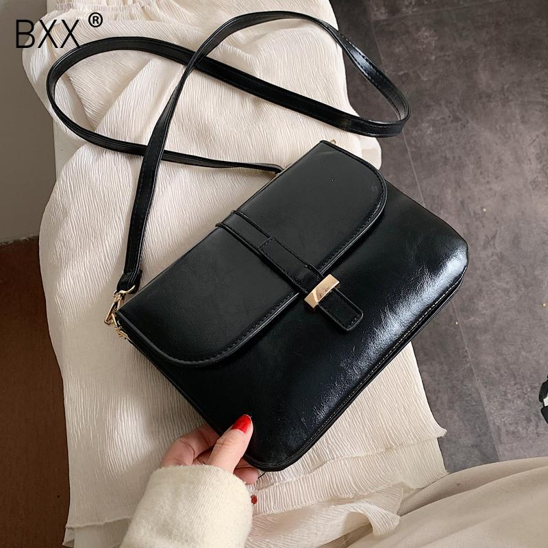 [BXX] Solid Color PU Leather Crossbody Bags For Women 2020 All-match Shoulder Messenger Bag Female Handbags and Purses HJ989