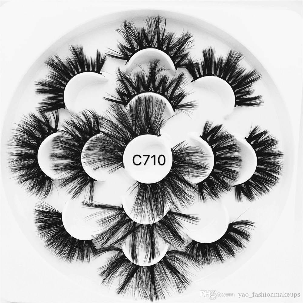 무료 UPS! 7 쌍 꽃 유형 두꺼운 밍크 가짜 속눈썹 십자 긴 털 속눈썹 수제 극적인 학대없는 속눈썹 메이크업