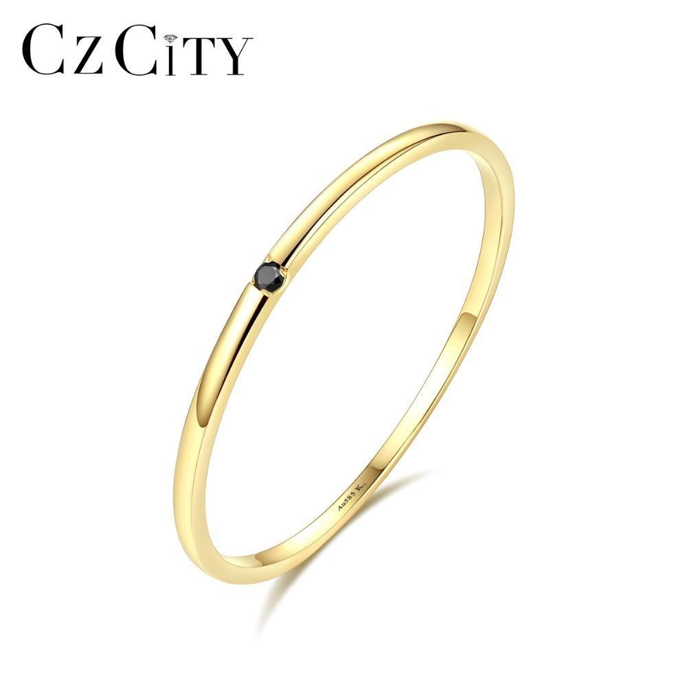 Czcity 100% 14 k Sarı Altın Petite Siyah Kübik Zirkon Alyans Kadınlar Için Basit Ince Çember Bantları Yüzük Güzel Takı Bijoux Y19052301