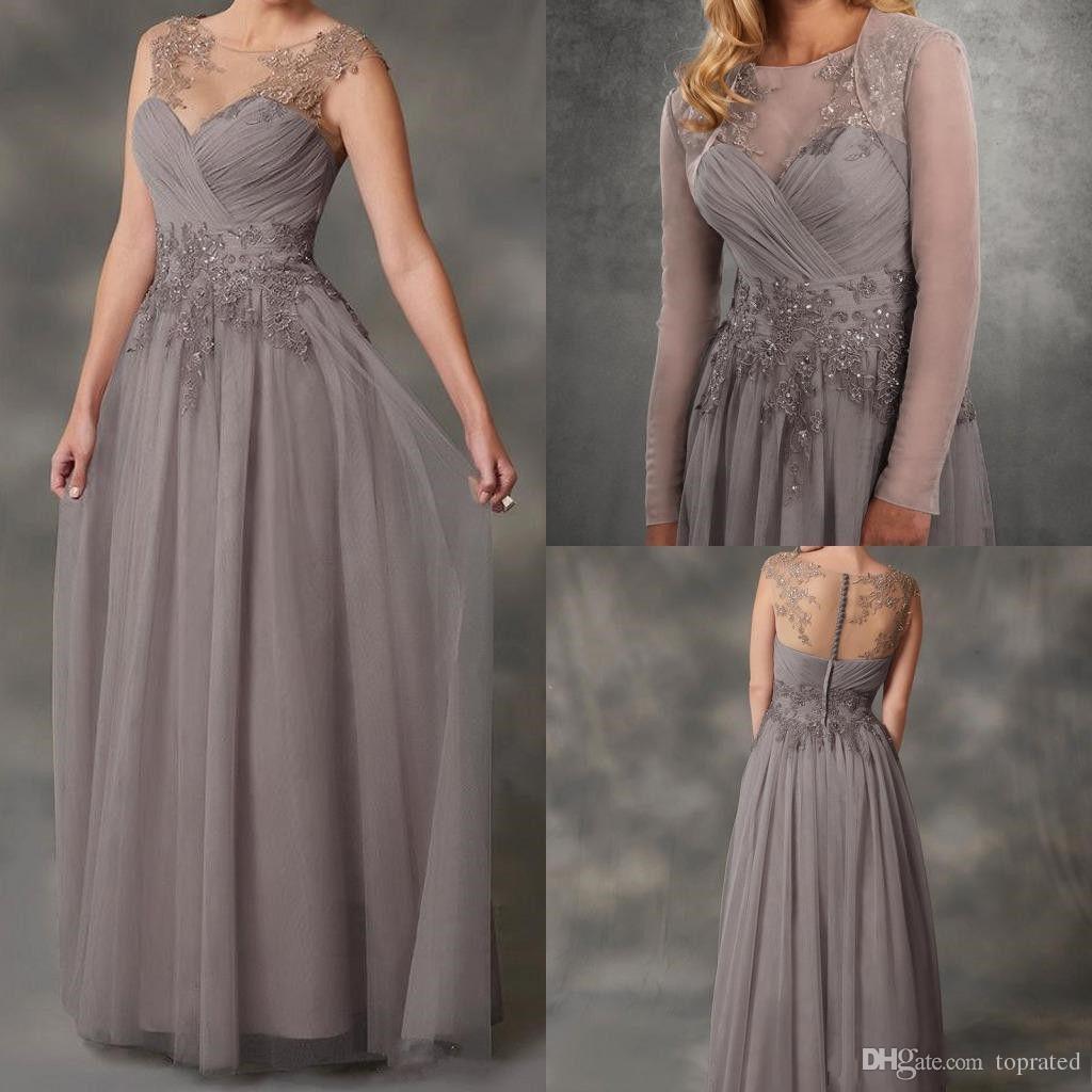 2019 плюс размер серый мать невесты платья кружева аппликация Jewel шеи свадебные платья гость бисер линии дешевые вечерние платья