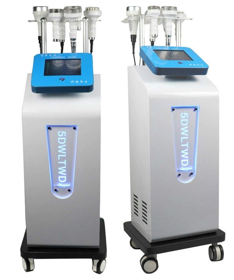 Multi-función de estiramiento facial 80k cavitación ultrasónica 5DCarving Instrumento Rf vacío Rf cuerpo de la aspiradora conformación de la máquina para adelgazar