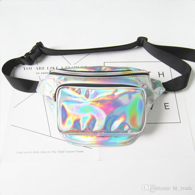 DHL New women metallic silver Fanny Waist bag chest pack sparkle festival hologram purse travel bag 5colors size 18*30*7cm
