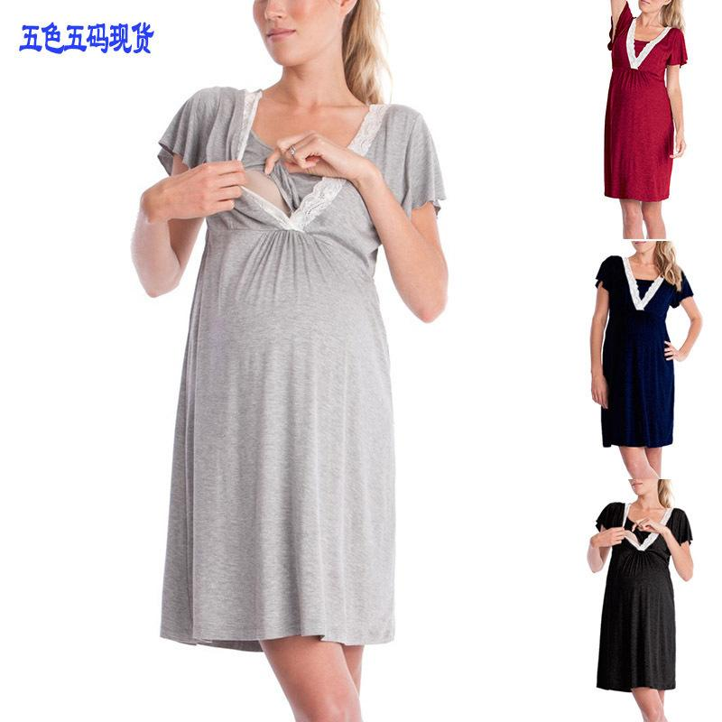 Home Suit Lace Sleepwear For Pregnant Woman Cotton Maternity Night Dress Short Sleeve Nursing Nightgown Breastfeeding Home Wear Y19071901