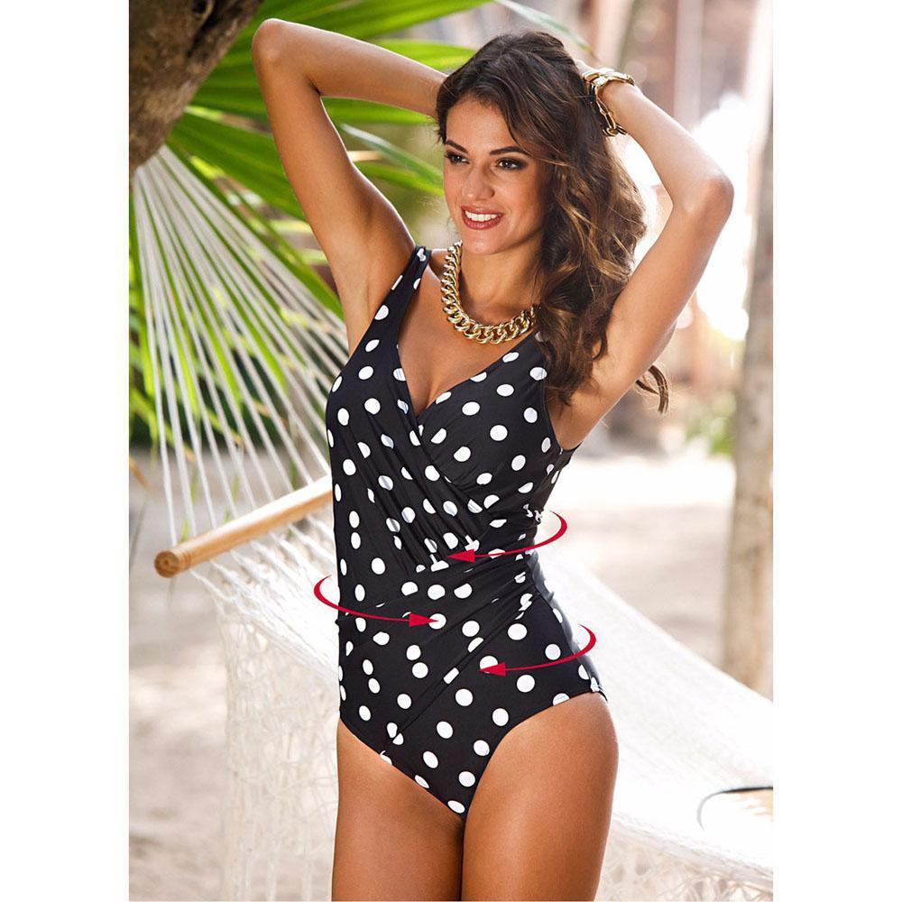 Artı Boyut S-5XL One Piece Mayo Mayo Kadınlar Dot Baskı bodysuit tek parça bikini Backless İnce Kızlar Mayo Beachwear Maillot