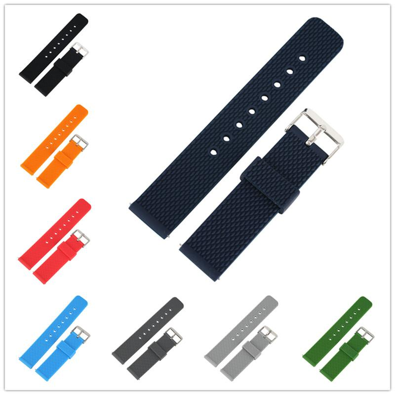 20mm 22mm Multicolor Rubber Watch Strap Waterproof Silicone Band Pin Buckle Straight Ends Diver Replacement Bracelet Belt Quick Release Bar