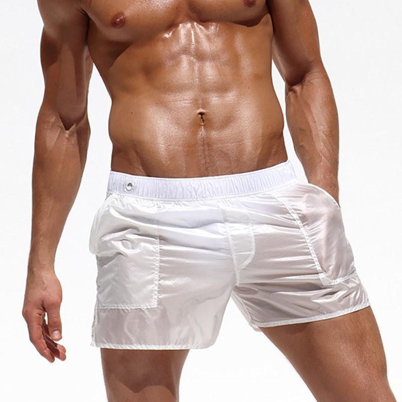 2019 Stylish Men Shorts Sexy Transparent Boxer-Männer Shorts Strand Board Elastic Waist Durchsichtig Trunks Bottom Kleidung