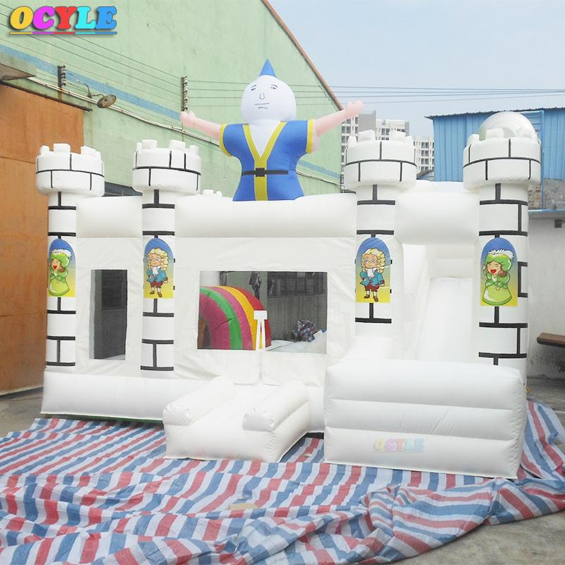 HOT OCYLE Best-selling white inflatable clown bodyguard for sale, inflatable bodyguard and slide combination, bouncing house