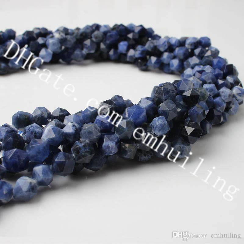 10 Strands Natural Blue-vein Stone Faceted Star Nugget Beads Drilled Hole Sodalite Gemstone Loose Jewelry Making Beads 6mm-12mm Diamond Cut