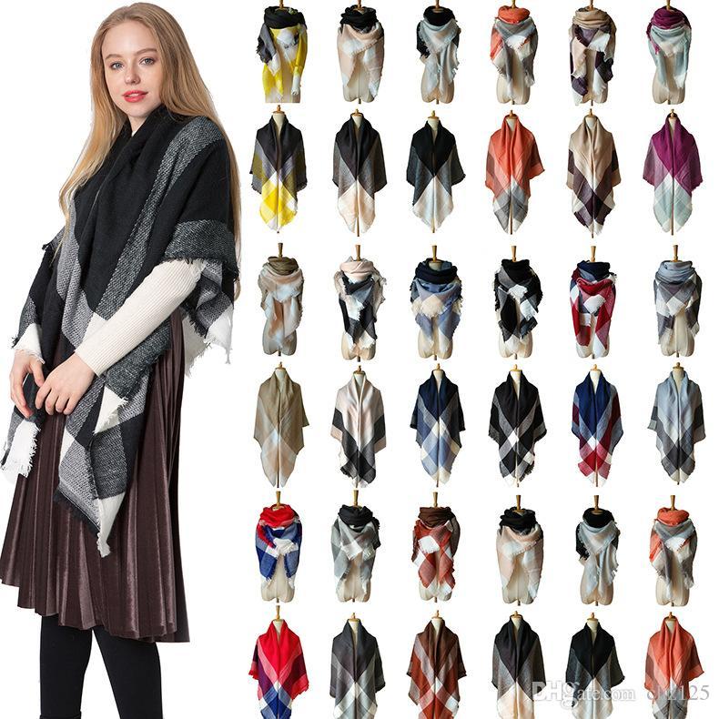Женщины Зимний шарф Теплый пашмины Бандана для дам кашемира шарфы Толстые шейный Мягкие вязки Echarpe хиджабах