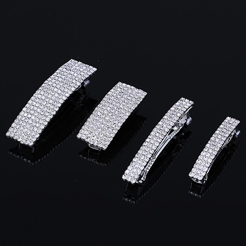 4 Sizes Elegant Rhinestone Hair Pins Barrettes Crystal Hair Clip Women Fashion Jewelry Silver Plated Wedding Hair Accessories D19011502