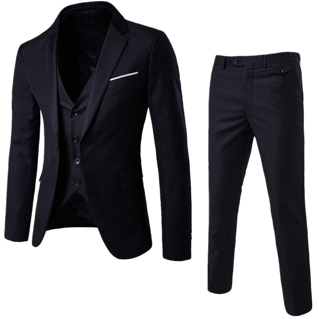 2019 Fashion Mens Suit JacketsBlazer Business Wedding Slim Suit Party new Male Jacket Vest with Pants Plus Size Suit Set