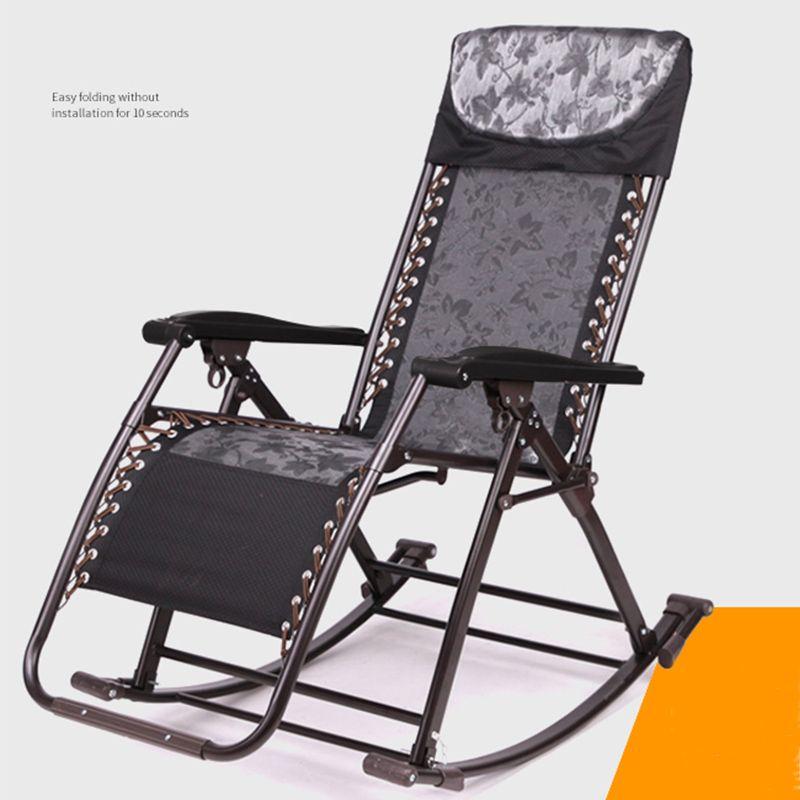 2020 Oficina al aire libre silla del ocio cómodo relaja la silla mecedora plegable Salón Relax siesta reclinable 180kg Teniendo