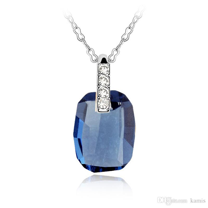Blue Crystal from Swarovski Women Necklace Pendants Fashion Jewelry Elements High Quality Party Wedding Accessories Best Christmas Gift
