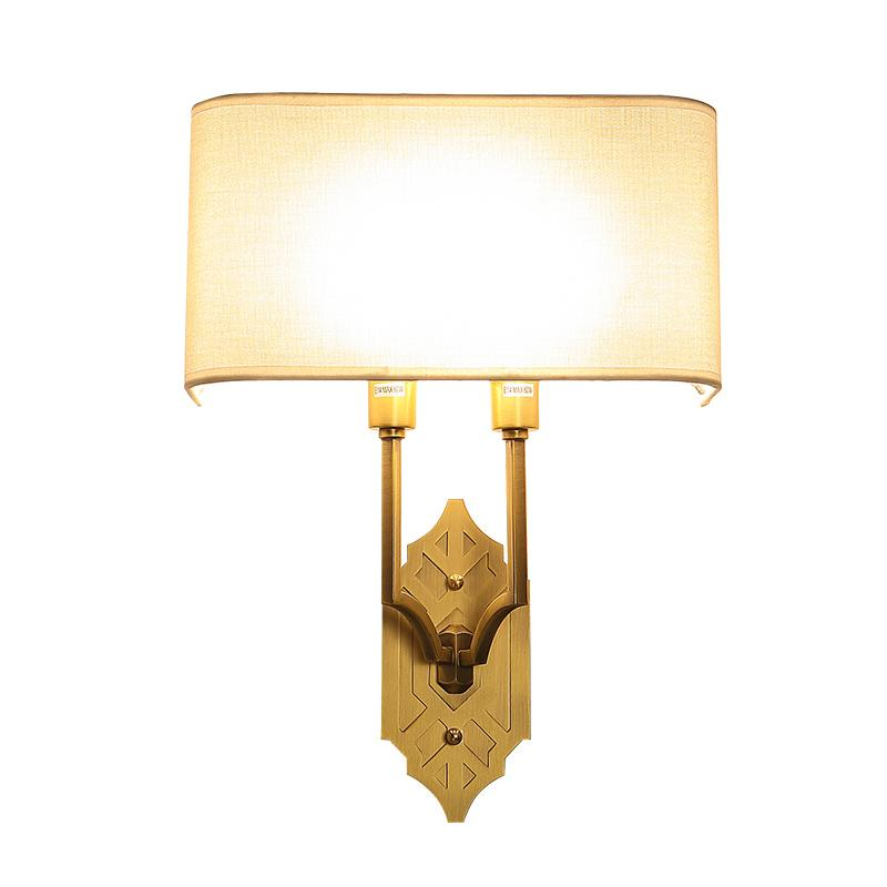 French Style Wall Lamp All Copper American Bedroom Bedside Lamp Study Hall Background Bedside Corridor Aisle Fabric Shade Wall Light