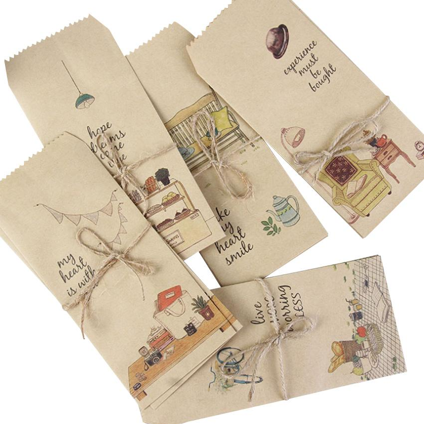 10packs/lot Cute Multifuction Mini Kraft Paper Vintage Style Envelopes 88x195mm Wedding Party Invitation Supplies Party Favor