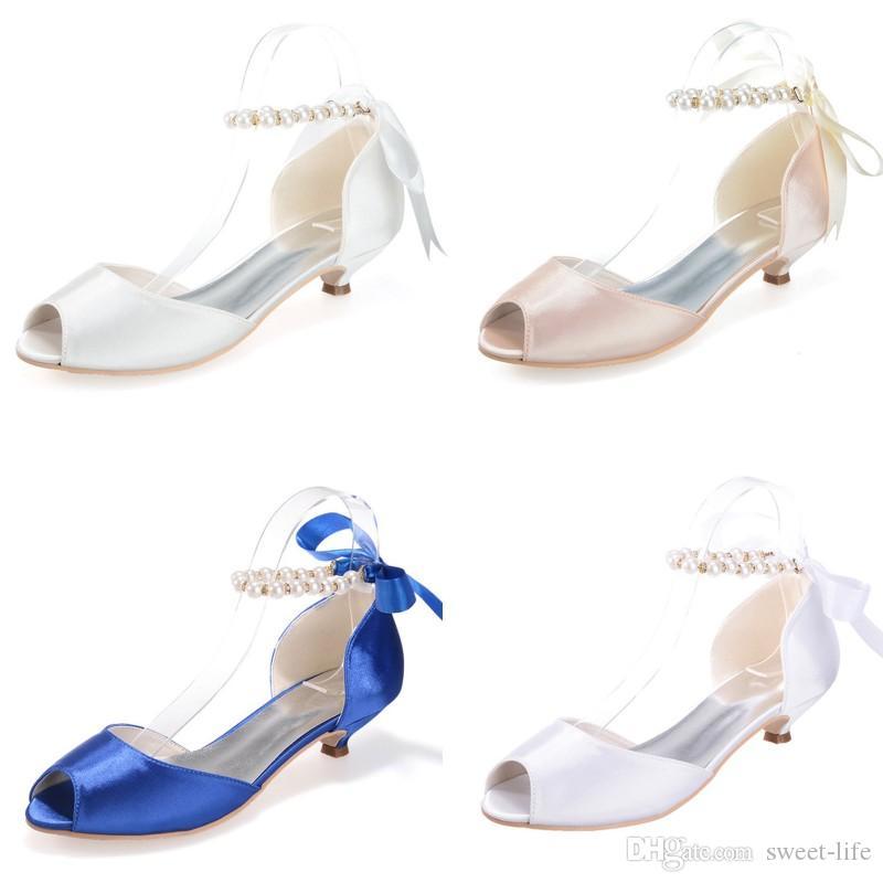 White Blue Ivory Champagne Satin Evening Bridal Shoes Imitation Pearls Pumps 3.5cm Low Heels Peep Toe Bride Dance Party Shoe