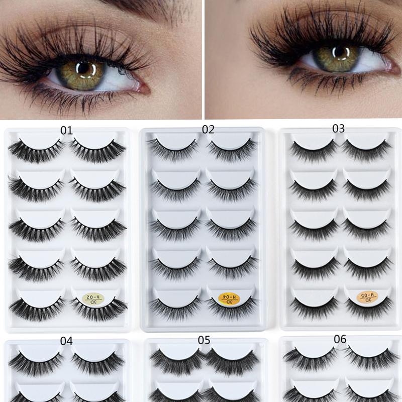 5 Çiftleri 3D Vizon Saç Doğal Çapraz Yanlış Eyelashes Uzun Dağınık Makyaj Sahte Göz Lashes Uzatma Kadınlar Göz Güzellik Araçları Dropship