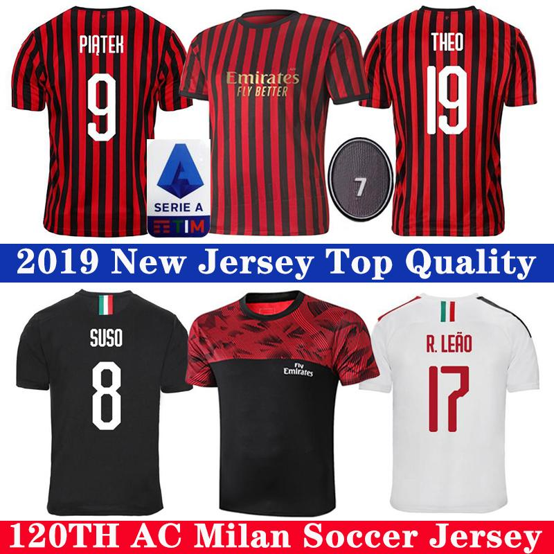 Thai 19 20 AC Milan Soccer Jersey 120 ans PIATEK Paqueta Football Shirt BENNACER Hommes Enfants Kit de futbol ROMAGNOLI SUSO de pied MAILLOT