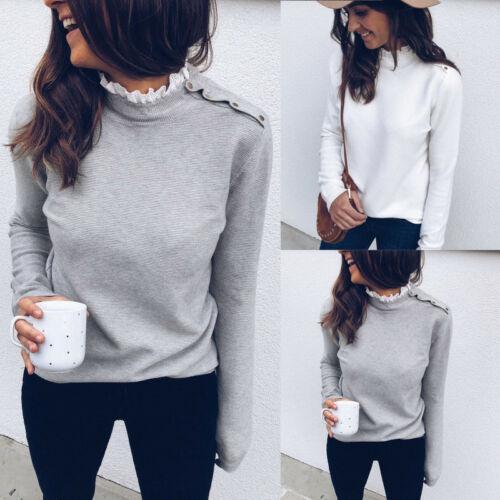 2 Renk S-XL Kadınlar Dantel Yüksek Boyun Fit Tişört Bayanlar Uzun Kollu Sıcak Casual Tee 58040592183424 Bluz Tops