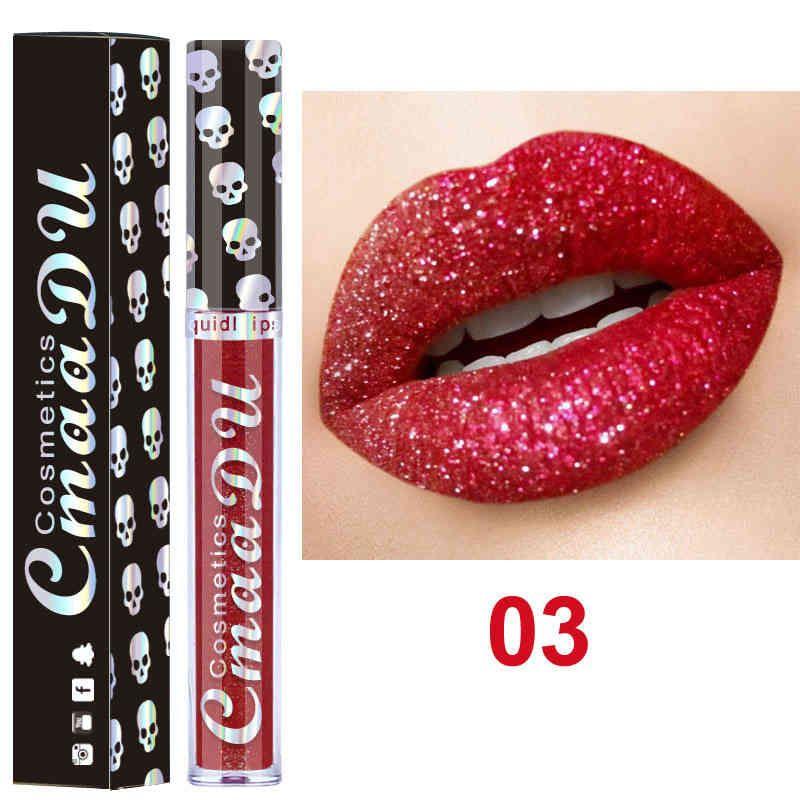 CmaaDu Skull Style Shimmer Shining Lip Gloss Long Wear Moisturizer Diamond Glitter Liquid Lipstick Beauty Makeup KitCmaaDu Gliter Metallic L