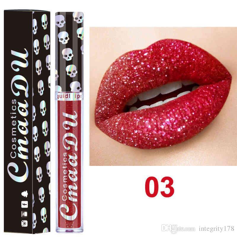 CmaaDu Estilo Crânio Shimmer Brilhante Lip Gloss Longo Desgaste Moisturizer Diamante Brilho Líquido Batom Beleza Maquiagem KitCmaaDu Gliter Metálico L